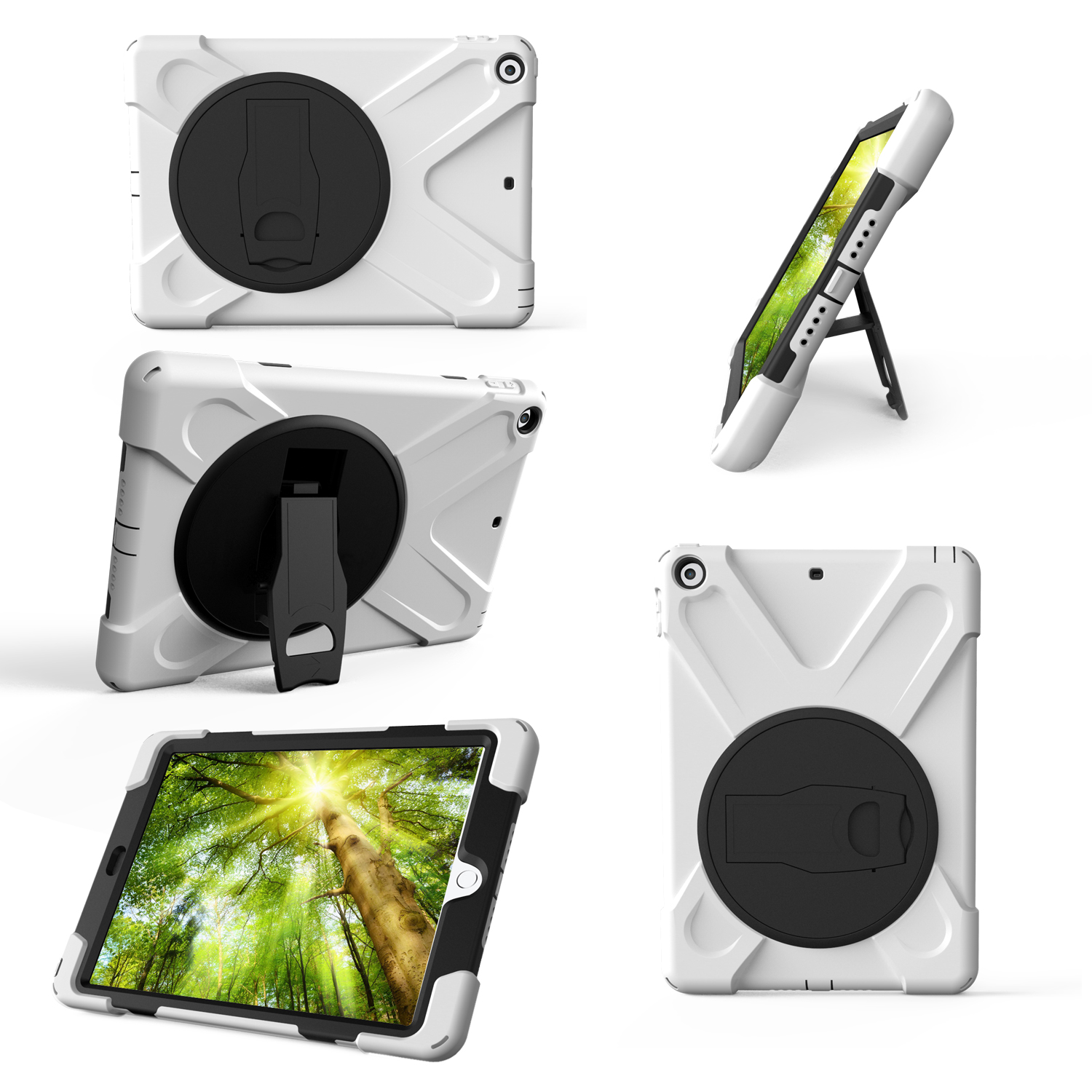 Case For Apple iPad 9.7 inch 2017 2018 New model A1822 A1823, YWVAK Kids Safe Shockproof Armor Soft Silicone+Hard Cover