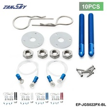 Tansky -10Pcs/Lot Universal Racing Car-styling Sport Pin Hood Kit With Lanyards For Ford Mustang Cobra V8 TK-JGS022PX(10PCS)