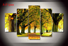 AtFipan HD Printed Nature Forest Park Trees Group Painting Canvas Print Vintage Modular Paintings On The Wall Art Cuadros Decor
