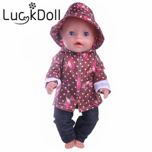 Free shipping, 1 set = hat + clothes + pants fit 43 cm Baby Born zapf, Children best Birthday Gift  (Only clothes)