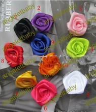 free shipping 100 pcs 2.7cm silk ribbon rose flower flat back  hairwear,handband girl hair accessories,10 colors