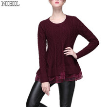 Women Knitted Lace Sweater Dresses 2017 Latest Long-Sleeve O-Neck Red Knitwear Fashion Women Crochet Pullovers Clothing Tops(China)