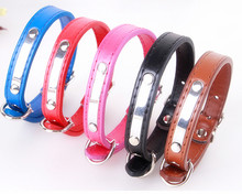 PU Dogs Collar leather adjustable Cat Collars Pet Neck Strap for small dogs puppy pet supplies shinning metal S M XL