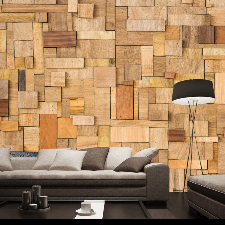 Eco-friendly personalized wood wallpaper fashion vintage large mural wallpaper sofa tv background 3d wall paper wallpaper modern<br>