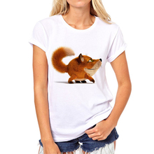 2017 New Summer 3D Kawaii Fox Print Short Sleeve Women Tshirt Tops Femme Casual Harajuku Girl T Shirt Brand clothing N8-16#(China)