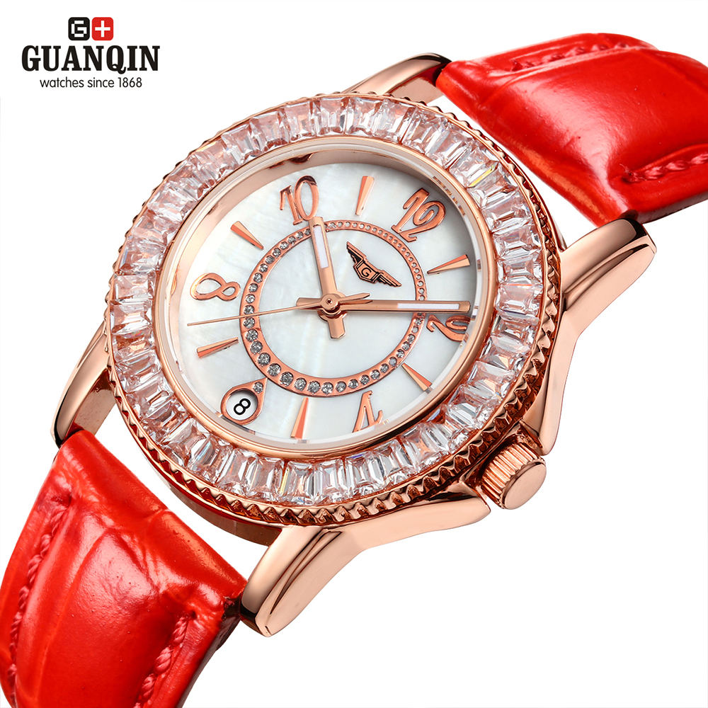 GUANQIN New womens Watches Women Quartz Watch Luxury Diamond Waterproof relogio feminino Dress up watch women<br><br>Aliexpress