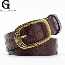 New brand desiger Genuine leather belts for woman Fashion wide Floral buckle Second layer Cow skin strap Cinto para as mulheres(China)