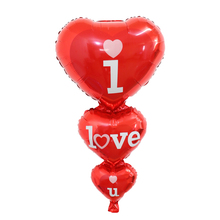 5pcs/lot Big I Love You Heart foil Balloons Weddings Party Decorations Heart Engagement Anniversary Weddings Valentine Balloons(China)
