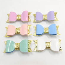 Gold Glitter Artificial Leather Bow Hair Clips Candy Color Fluorescent Kid Bow Barrette Pink White Green Blue Peach Kid Hairpin(China)