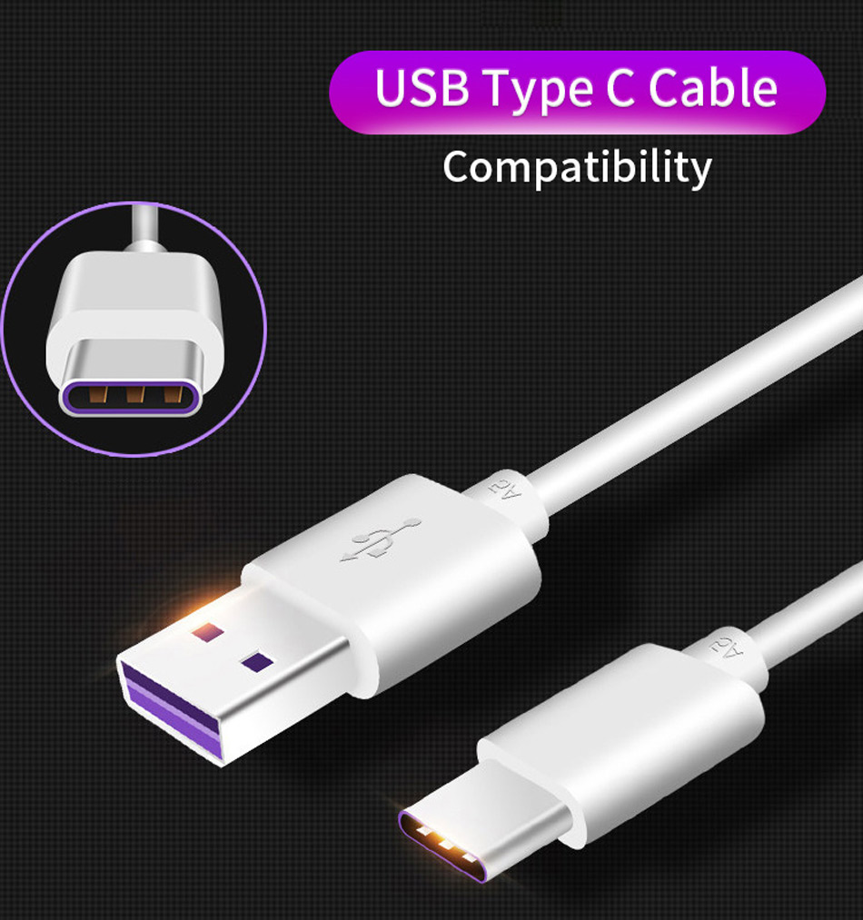 2Huawei P20 Pro Lite USB C Cable 5A Original SuperCharge Type C SCP Fast Quick Charging Cable Type-C Honor V10 10 View10 Nova