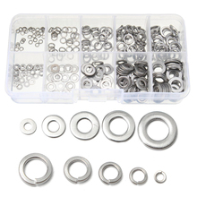 300pcs Stainless Steel Flat Washer Assorted M2-M6 Plug Spring Screw Gasket Set For Hardware Accessories