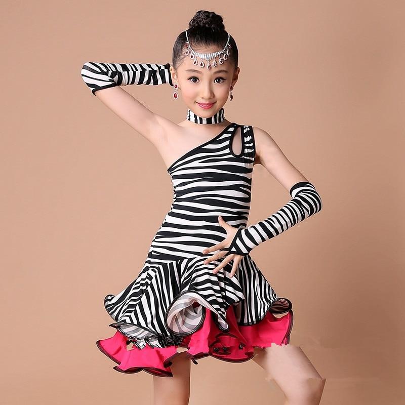 New Fashion Zebra Stripe/leopard Print Children Dress Kids Latin Dress Girl Dance Costumes with Rhinestone Headwear and Earrings<br><br>Aliexpress