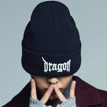 Fashion  BIGBANG  hat grogon  3D EMBROIDERY Strech  funny SKULL CAP  Cuff  Beanie HAT Black/White