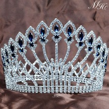 "Stunning 5"" Full Round Crowns Clear Blue Rhinestones Luxurious Large Tiaras Handmade Pageant Party Prom Hair Accessories"