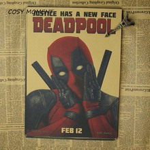 COSY MOMENT Marvel Movie Dead pool Superhero Poster Vintage Kraft Wall Decorative Ryan Reynolds Movies Poster QT271