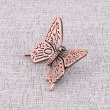 10pcs Zinc alloy Kitchen Cabinets Furniture Wardrobe Classic Antique bronze Handle Vintage Drawer Knobs Pulls Butterfly Knob(China)
