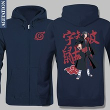 New Winter Fleece Jacket Warm Hoodies Anime Custom Design Naruto Printed Outwear Uchiha Itachi UI UK Varsity Long Sleeve Vesture