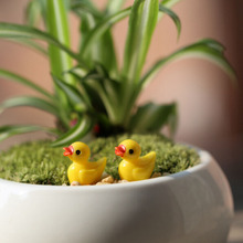 New Miniature Dollhouse Fairy Garden Mini cute little yellow duck Resin Crafts For Home plants Decoration 10 Pcs/set(China)