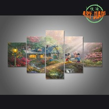 5 piece canvas art HD new Thomas Kinkade Mickey Mouse Canvas Paintings Decorations For Home Wall Art Prints Canvas \C-489