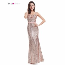 Sparkle Prom Dress Ever Pretty A Line Spaghetti Straps Floor Length EP07087RG 2017 Women Elegant Sequins Long Party Prom Gown(China)