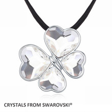 2016 new rope chain charming clover pendant necklace With Genuine Crystals from SWAROVSKI for Valentine's Day gift(China)