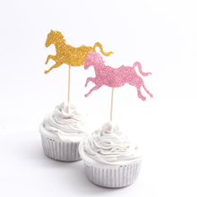 10pcs/lot Gold/Pink Horse Cupcake Topper Theme Cartoon Party Supplies Kids Boy Birthday Party Decorations