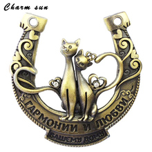 Exclusive design packing,Russian horseshoes,artistical cheapest metal craft, antique Valentines gift,rainstone cat on hotsale(China)