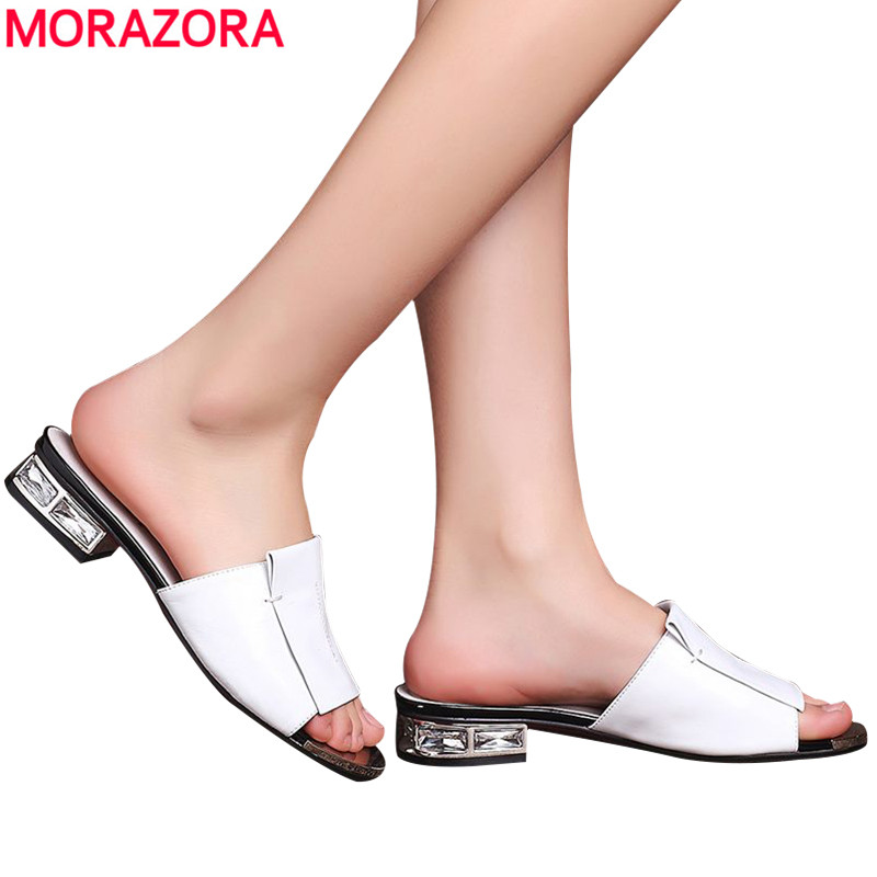 MORAZORA Plus size 33-43 high quality 2017 genuine leather women sandals square low heel summer solid color sandals women shoes<br>