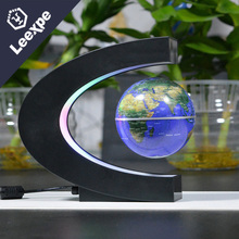 Novelty C Shape LED World Map Floating Globe Magnetic Levitation Light Antigravity Magic Novel Lamp Birthday decorati Night lamp