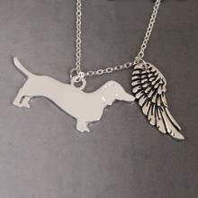 Dachshund Full body My Angel with Wings Dog Lover Necklace Pendants Charms Memorial Gift Jewelry Necklace Women Choker Lead Free