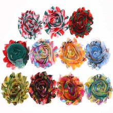 11PCS Rainbow Style Flowers Shabby Chic Flower Artificial Flower Bouquets for Hair Accessories Flowers No Hair Clips