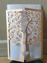 50pcs Tree Design Laser Cut Incarnadine Color Wedding / Anniversary Invitation Cards,Birthday Greeting Cards,Wedding Invitaiton(China)