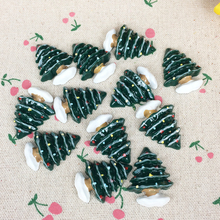 10Pieces Flat Back Resin Cabochon Kawaii Christmas Tree XMAS Flatback Embellishment Accessories Scrapbooking Crafts:25*32mm(China)