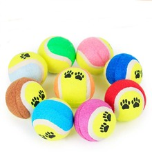 Eco-friendly rubber big large dog Chew ball toy pet cat dog Footprint Tennis Interactive puzzle toys for small dog food feeder