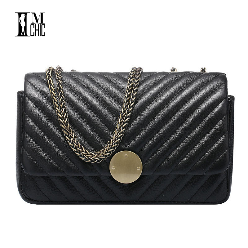 IMCHIC 2017 Women Shoulder Bags Genuine Leather Stitch sewing Pattern Woman C Style  Luxury Cowhide Ladies Crossbody Handbags <br>