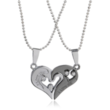 4 Kinds Love U Heart Design Couple Pendant Necklaces & Pendants For Women/Men 316L Stainless Steel Chain Broken Heart Necklace
