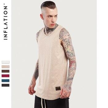INFLATION 2017 D'été Nouveau Style Coton Hip Hop Extra Long À La Palangre Ourlet Incurvé Réservoir T Chemises