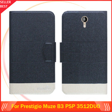 5 Colors Hot!! Prestigio Muze B3 PSP 3512DUO Case Ultra-thin Flip Fashion Leather Exclusive Phone Cover Card Slots Free Shipping