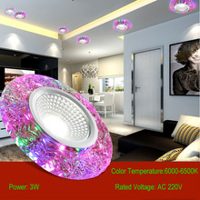 6pcs/lot Embedded 3W Decorate colorful LED Ceiling Lights , crystal lamp light, corridors porch light (AC 220V)