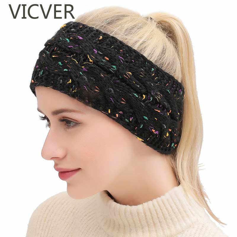 cb5066e5b68 Winter Crochet Knit Woolen Cap Headwrap Women Beanie Hat Ears Warmer Head  Wrap Soft Caps Casual