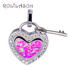 Delicate Heart Key Design White zircon Purple Fire Opal Silver Stamped Necklace Pendants Health Fashion Jewelry OP586(China)