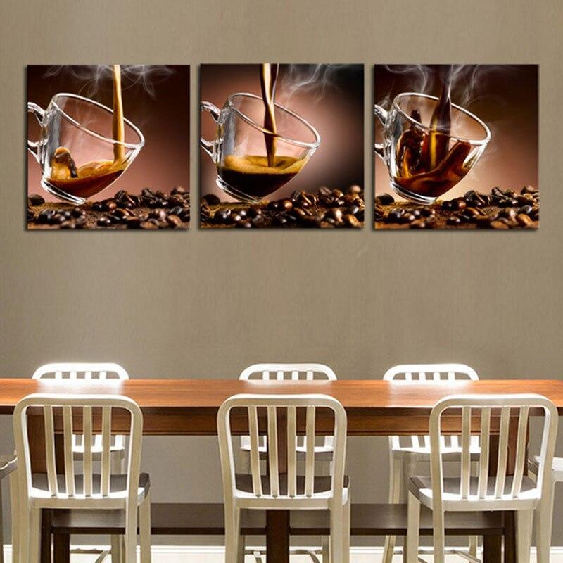 Алмазная вышивка триптих кофе