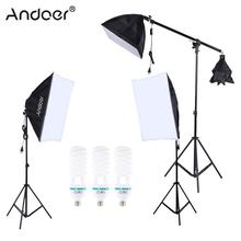 Andoer Professional Photography Photo Studio Lighting Kit with 5500K 135W Bulb Light stand Square Cube Softbox Cantilever Bag