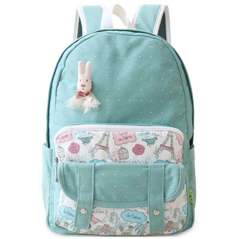 2017 New Cartoon Lace Canvas Cute Kids Backpacks Schoolbag for Teenagers Rucksack Backpack  Ladies Girl Back Packs Mochila<br><br>Aliexpress