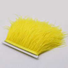 New High Quality 1yard Yellow Ostrich Feathers Fringe Trims Pretty Plumage Ribbon Dance Festival Party Millinery Supplies