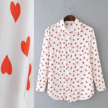 2017 Women Summer Style Vintage Blouse Love Heart Print Long Sleeve Euro Cotton Button Down Formal Work Wear Shirt Tops Y03371