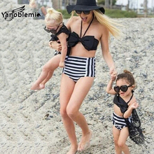 Mom Daughter Matching Family Swimsuits Summer Stripes Bow Bikini Kids Girls Swimsuits Shorts Clothes Mother Sexy Family Sets
