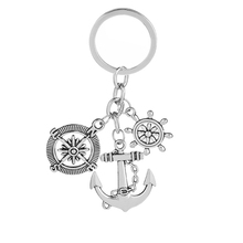 vintage Anchor keychain Creative Simple Rudder compass Anchor key chain Ancient silver Color gift for Nautical lovers buccaneer