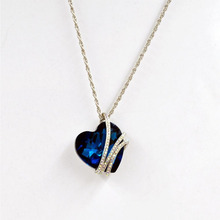 50 cm Romantic Woman Ocean Heart Necklace Jewelry Blue Heart Crystal Pendant Necklace  Christmas  Plated Necklaces