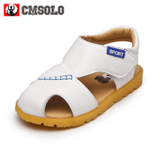 CMSOLO Boys Sandals Summer New Style Baby Children Shoes Boy Soft Round Toe Leather Sandals Kids Shoes Breathable Flats Footwear